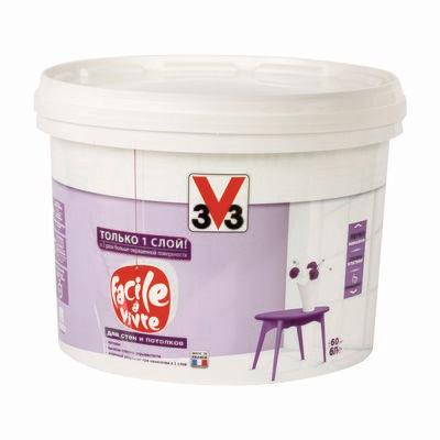 Матовая латексная краска для стен и потолков FACILE LA VIVRE V33 6 л