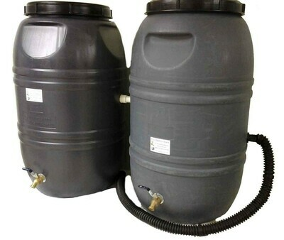 Double  Rain Barrel Combo Gray with internal overflow