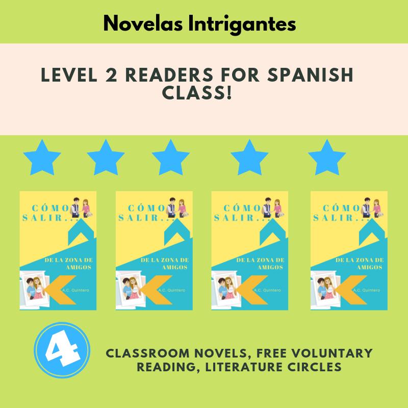 """4 Novels """"Cómo salir de la zona de amigos"""" Level 2"""