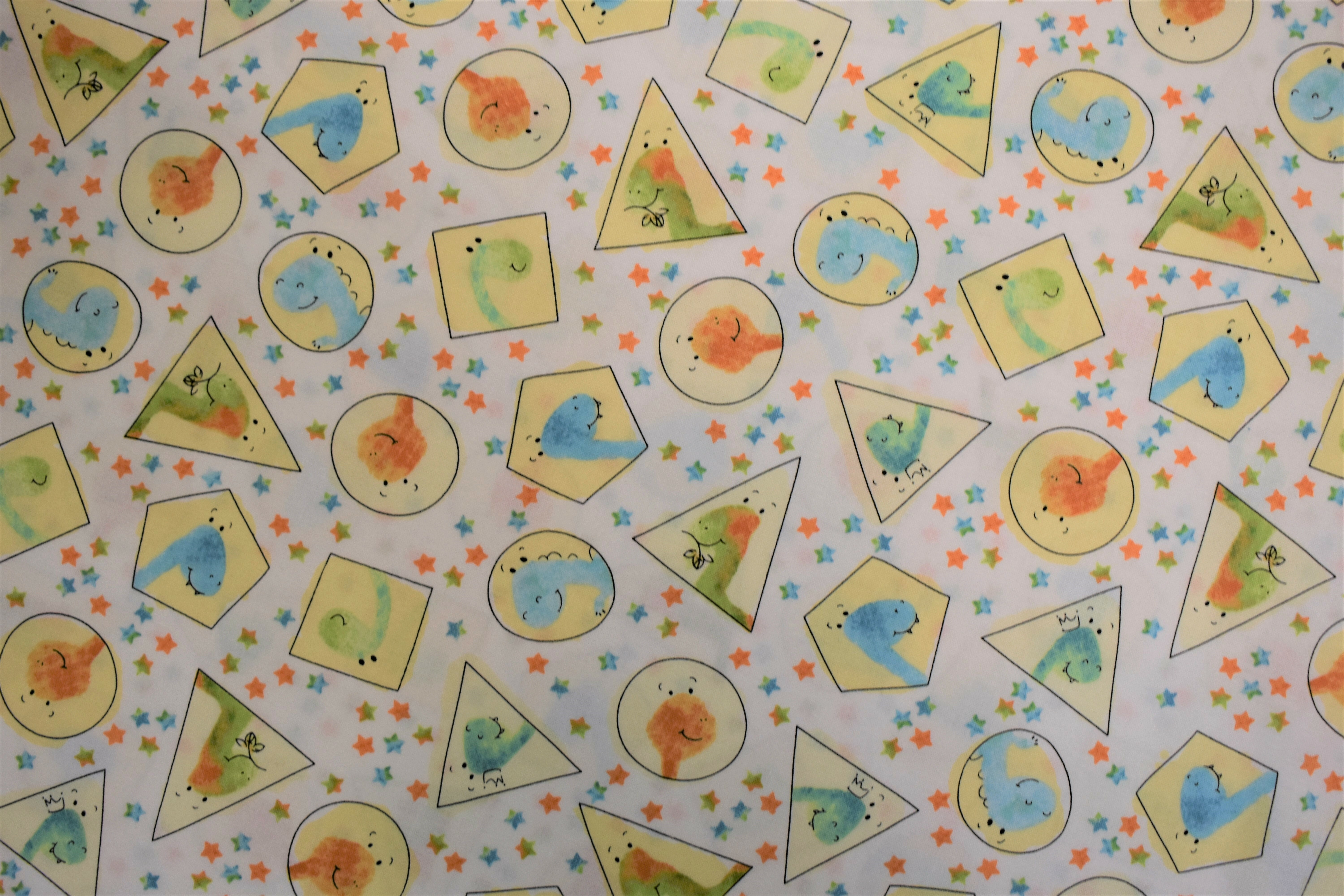 Dino-Mite Dinosaurs in Shapes - Quilting Treasures - 1/2m cut L1KN3FM9