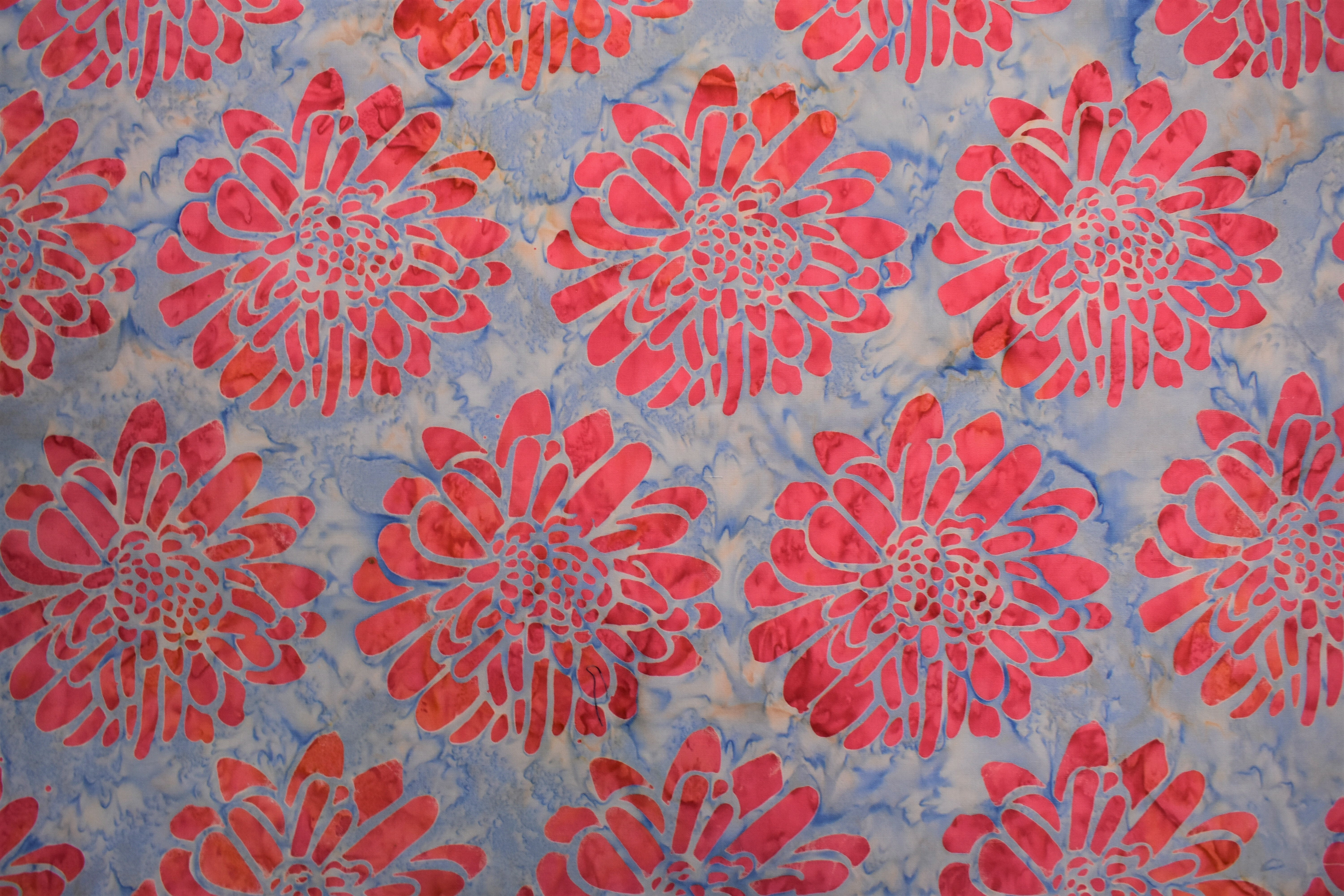 Blue with Large Pink Flowers Batik - 1/2m cut RWRN7GPV