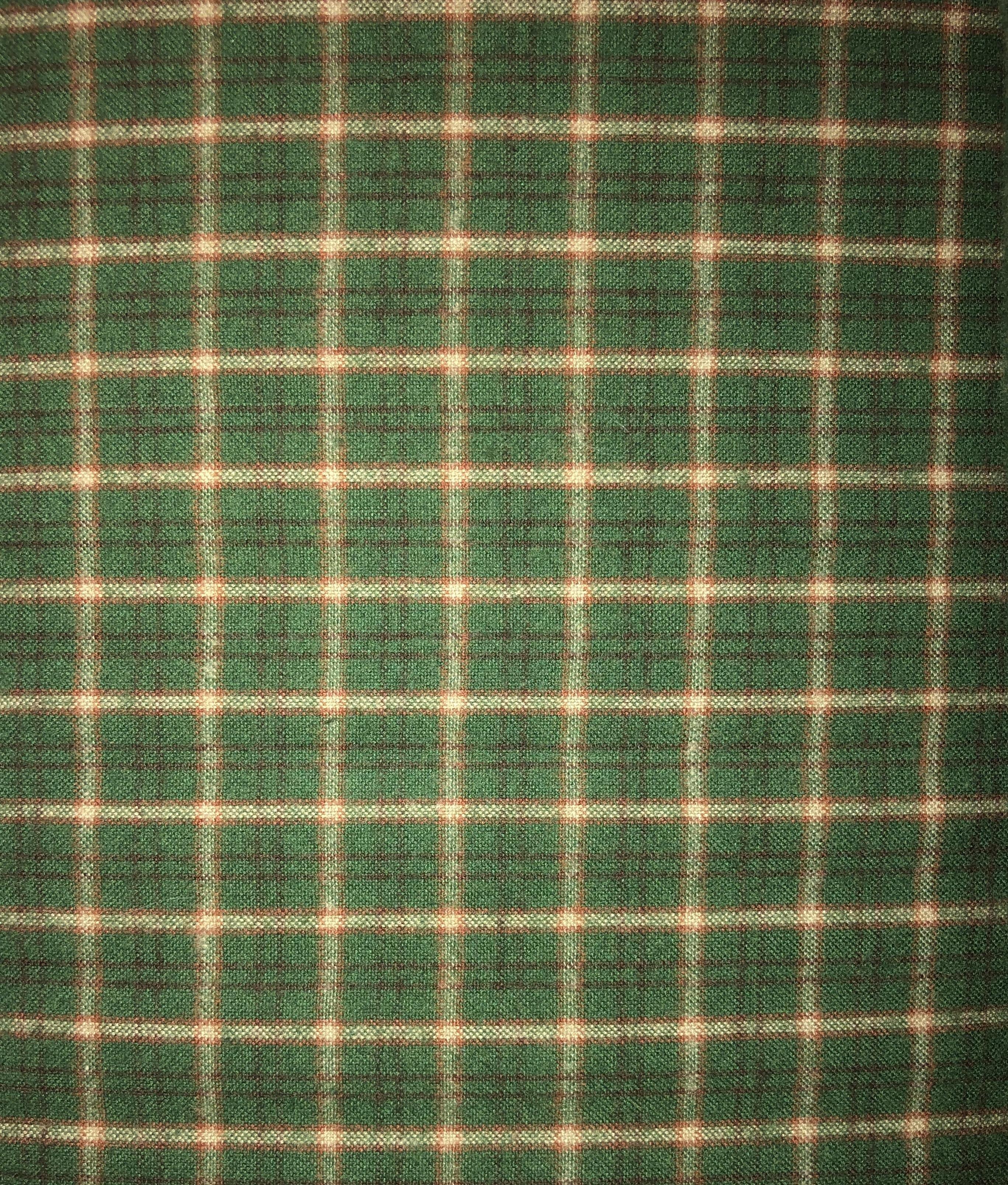 Yarn Dyed Flannel - Green & Red Plaid - 1/2m cut 55168