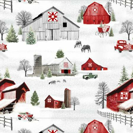 Grey/Red Barns & Trucks Scenic - Holiday Heartland- 1/2m Cut 55799
