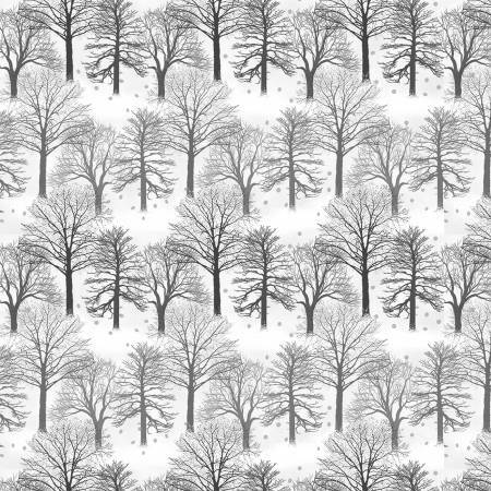 Light Grey Trees - Holiday Heartland- 1/2m Cut 55803