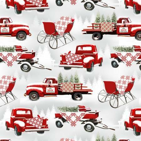 Allover Trucks - Holiday Heartland- 1/2m Cut 55808