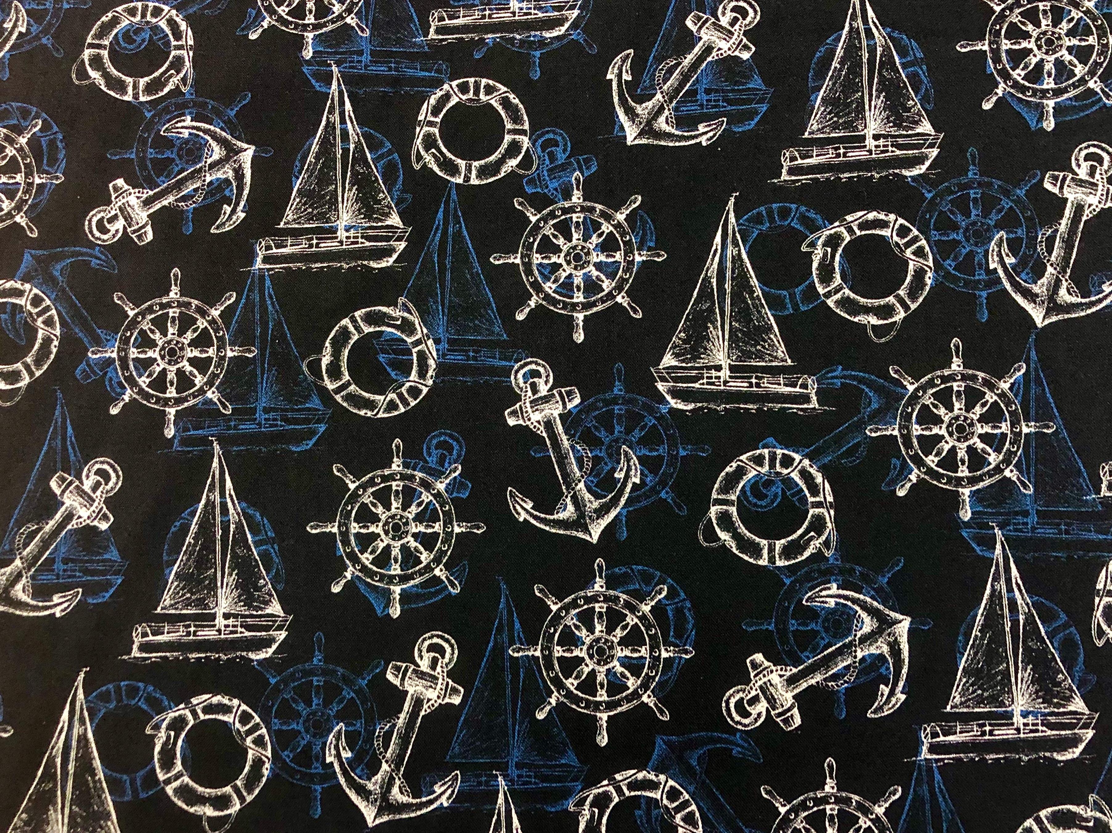 Ship Ahoy - Dark Blue Nautical - 1/2m cut 55817