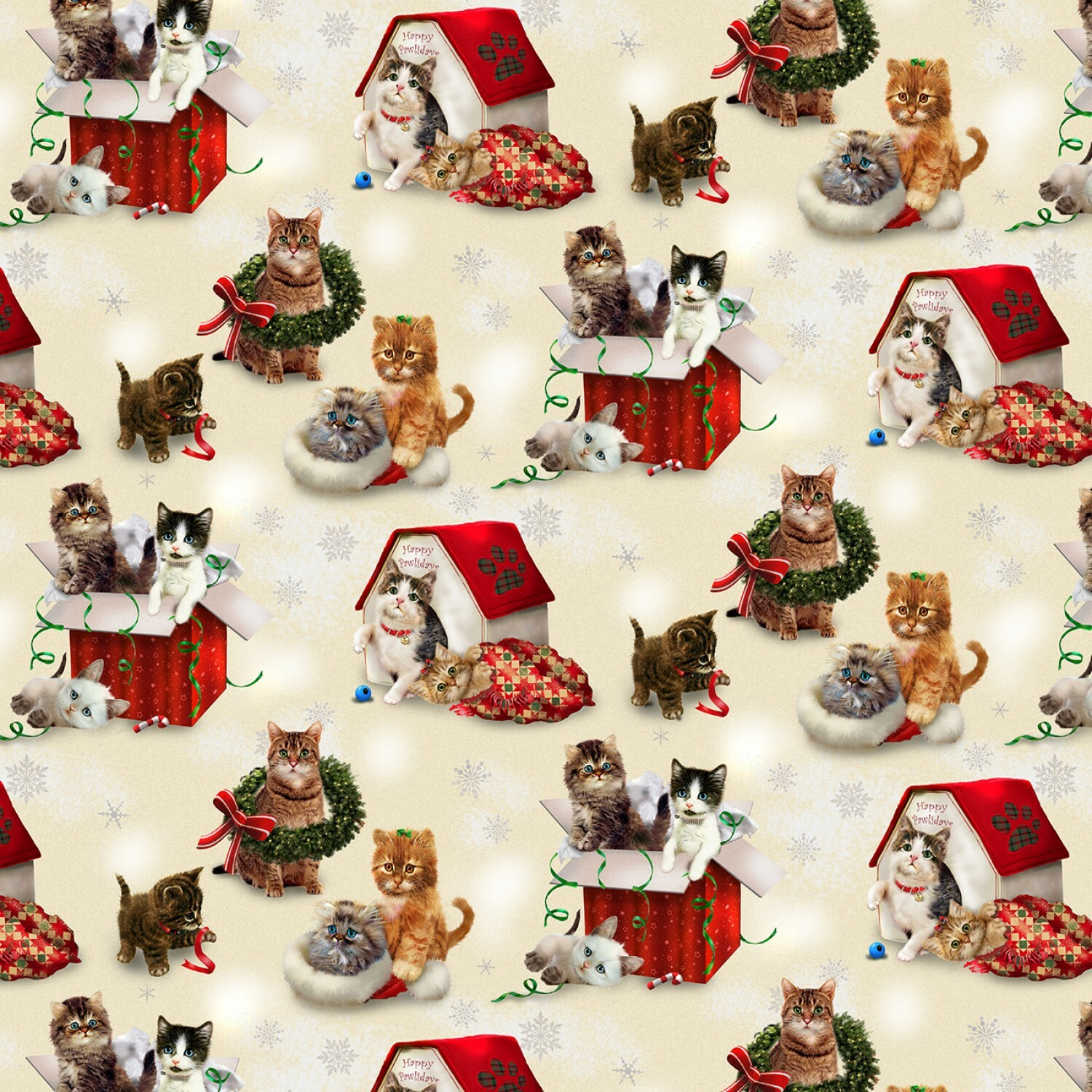 Kitty's in Boxes - Fireside Kittens By Henry Glass - 1/2m cut 55862
