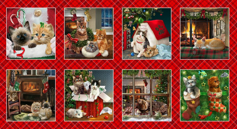 Fireside Kittens Panel - 8 Squares 55865