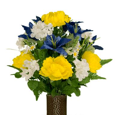 Bouquet #4: Blue Stargazer w/Yellow Peony and Hydrangea