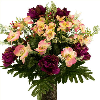 Bouquet #5:  Purple Peony w/Pink and Cream Orchids