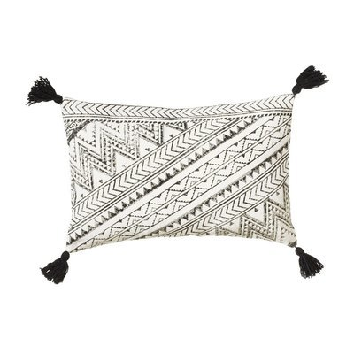 Black & White Block Print Pillow with Tassels