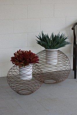 Copper Finish Wire Ball Planters w/ White Wash Pots