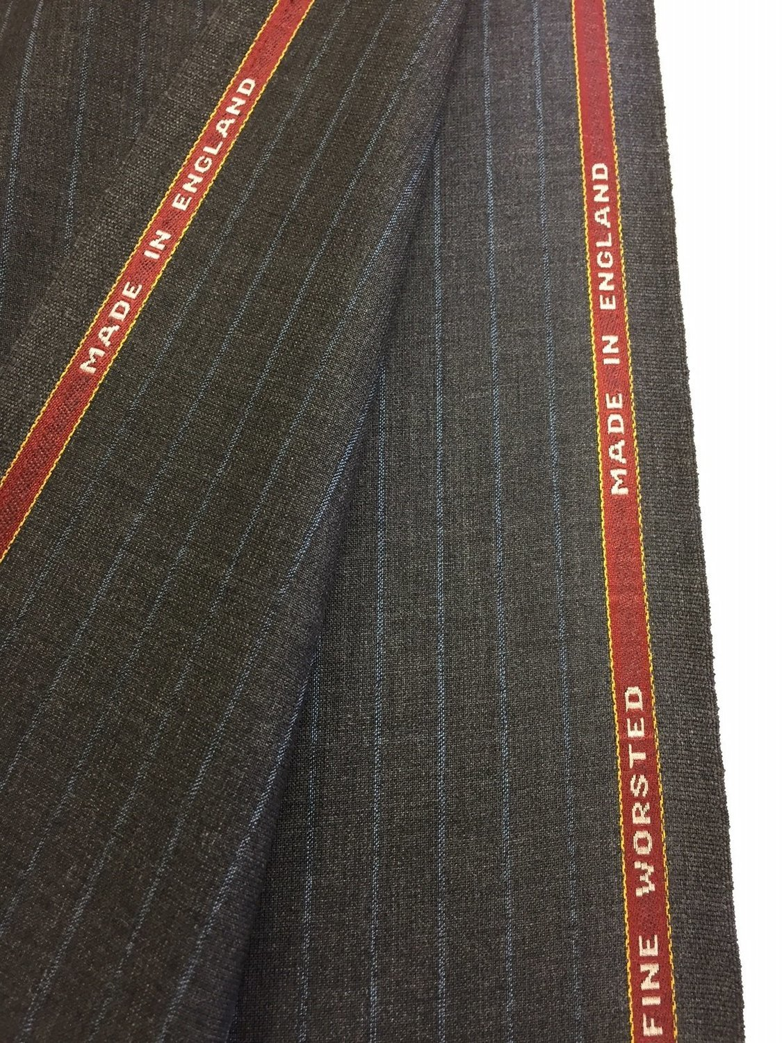 MINOVA Grey Striped Superfine Worsted Wool Suit Fabric Made In England