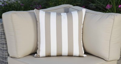 Outdoor Throw Pillow - Beige and White Striped