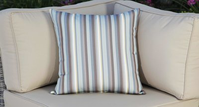 Outdoor Throw Pillow - Blue Striped