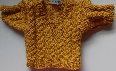 Jumper, gold cable v neck - bear 36cm/ 14 inches high