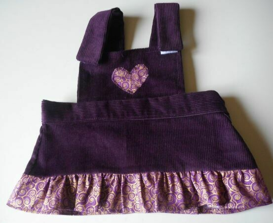 Pinafore with frill - aubergine