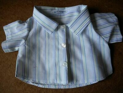 Shirt - dashed blue and green stripes