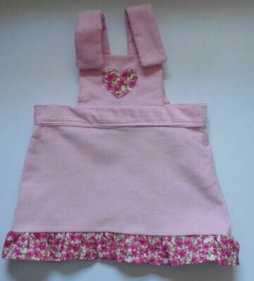 Pinafore with frill - pale pink