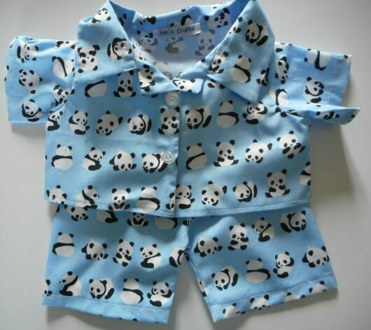 Pyjamas with collar - panda print cotton.
