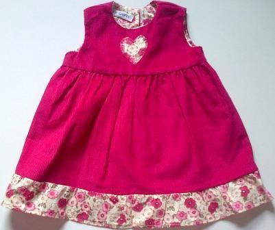 Pinafore with frill - cerise pink