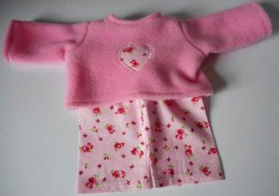 Pyjamas - fleece top and fabric trousers - pink