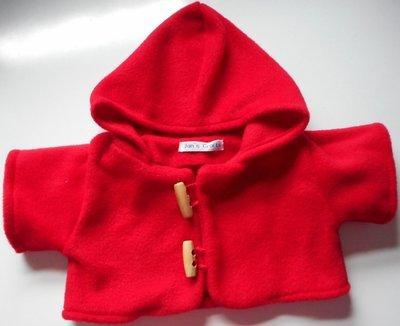 Coat - hooded, red fleece