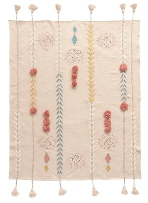 cotton embroided throw df1630