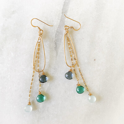 Ocean Blue Ombre Gemstone Teardrop Earrings SQ4902394
