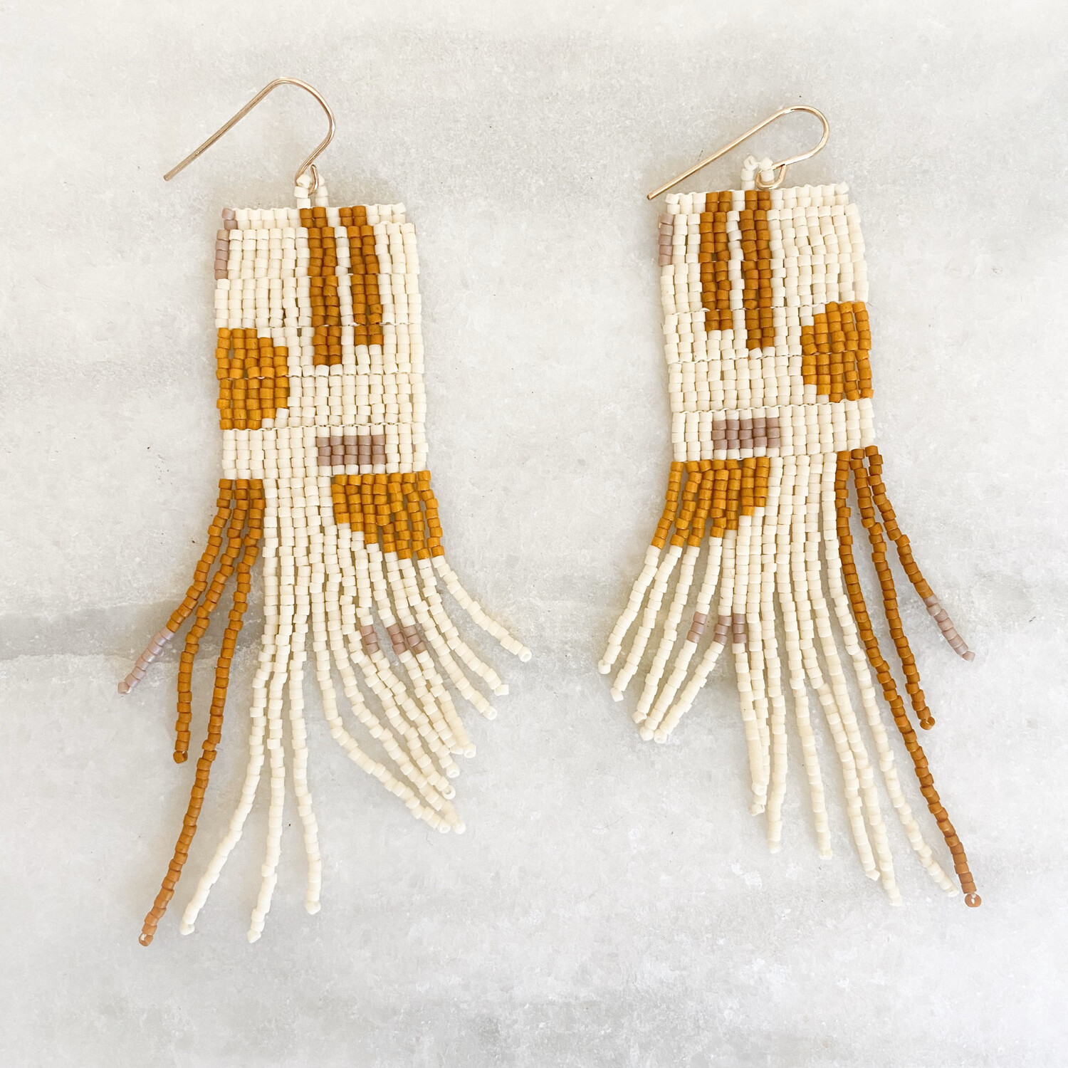 Earth Toned Hand Beaded Earrings In Ivory And Rust