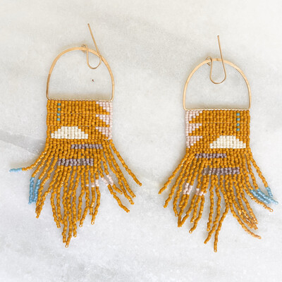 Rust Colored Fringe Beaded Earrings By Blackbird Dagger