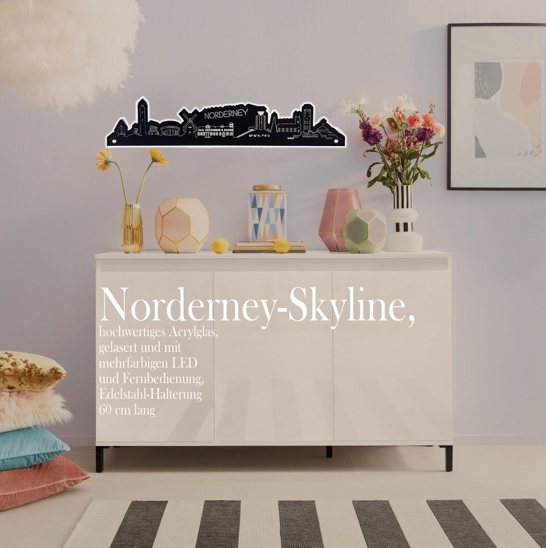 Skyline Norderney, hochwertiges Acrylglas, gelasert, mit RGB LED