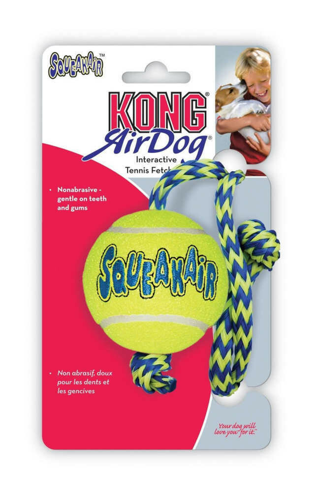 KONG Airdog Squeaker Ball With Rope