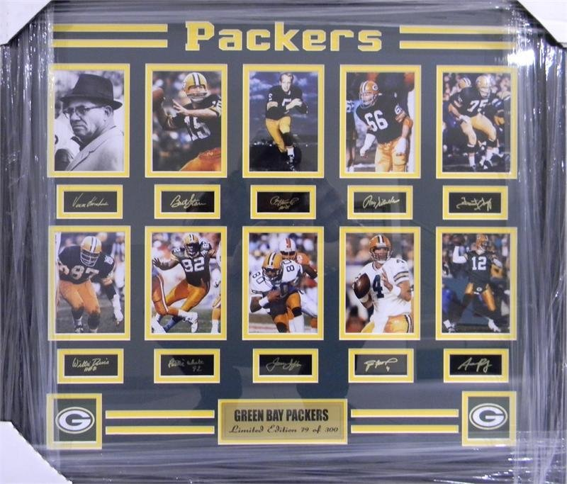10 Packers Legends - Framed Photos with Autographs 00017