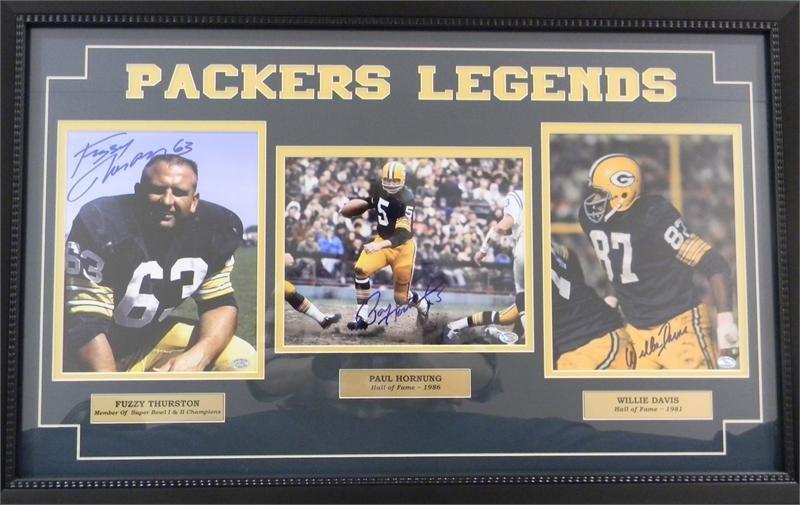 Packers Legends Thurston, Hornung, and Davis Framed Autographed Photos 00018