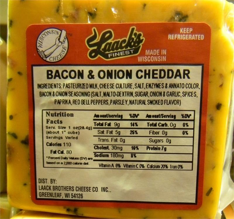 Laack's Finest Bacon & Onion Cheddar Cheese 00039