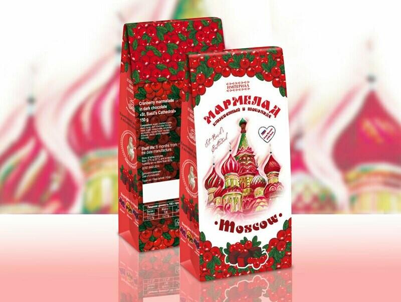 Мармелад клюквенный в темном шоколаде «Храм Василия Блаженного»