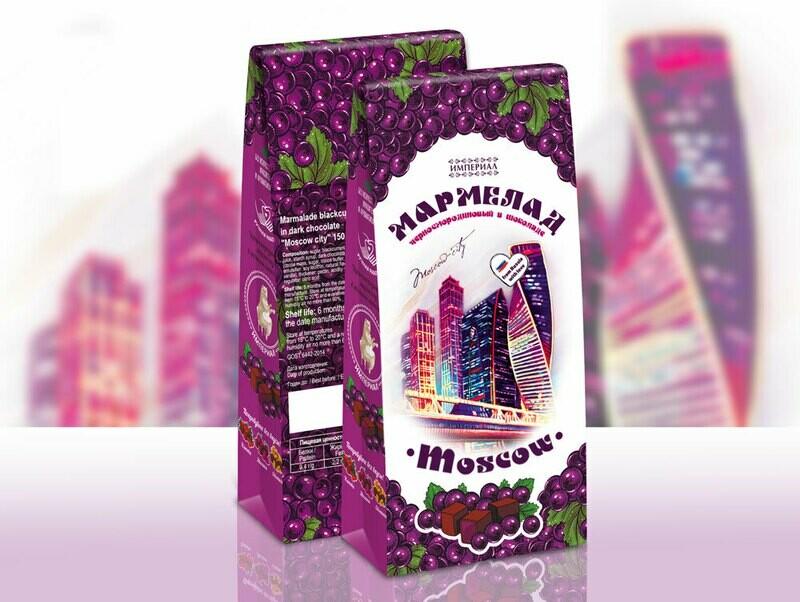 Мармелад черносмородиновый в темном шоколаде «Москва-Сити»