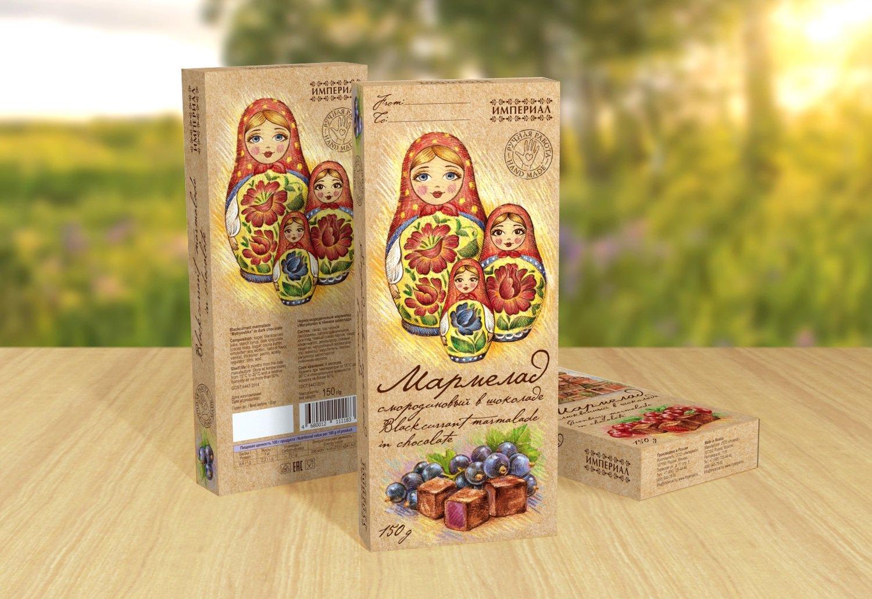 """Черносмородиновый мармелад """"Матрёшки"""" в тёмном шоколаде"""