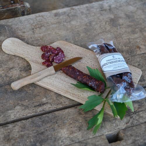 Emmentaler Bio Rindswürste mit Kümmel, Light, Chnebeli, Chili, Knoblauch und Natur