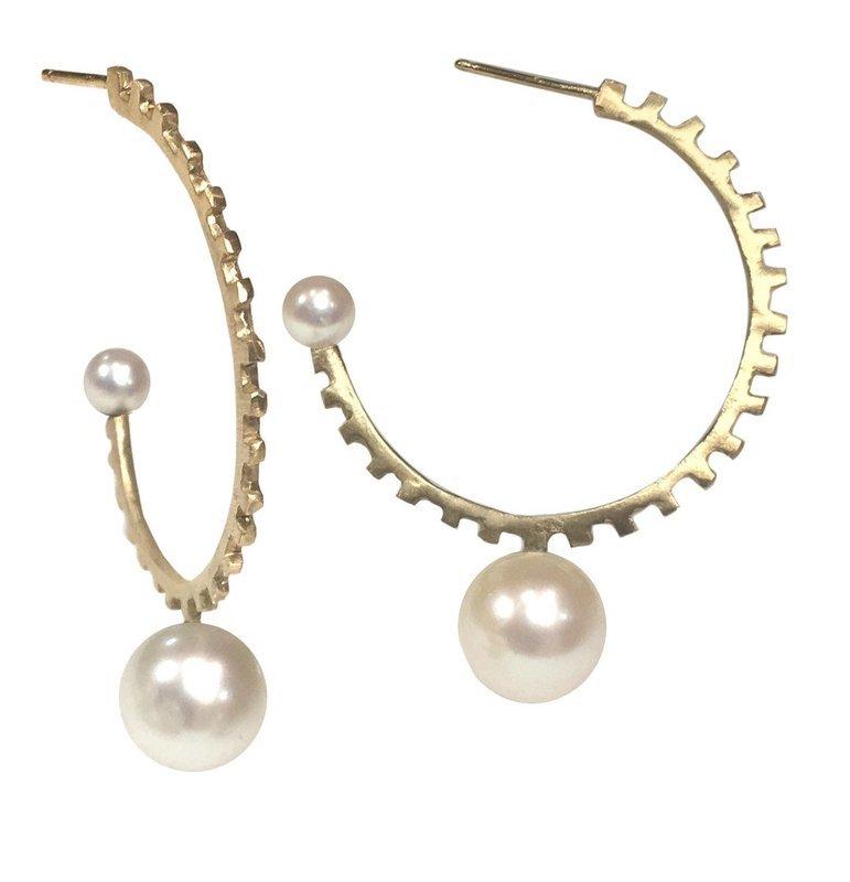 Double Pearl Hoops