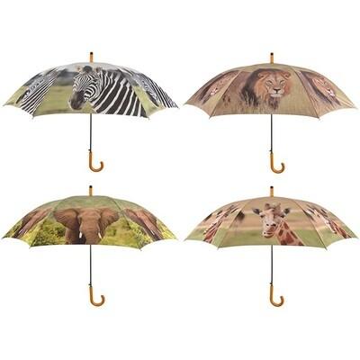 Paraply med print af Afrikas vilde dyr