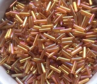 Transparent rainbow bugle bead - Sandy brown