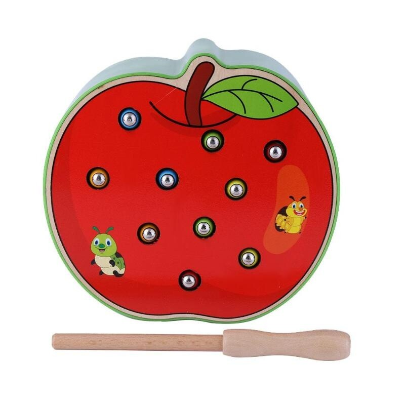 """Обучающая игра Магнитная рыбалка """"Поймай червячка"""" в яблоке"""