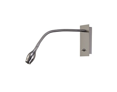 Winslow LED Oval Head Wall Lamp With Flexible Arm, Beam 45 Deg, Switch On Base, Satin Nickel