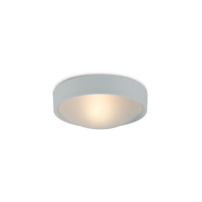 Rondo IP44 1 Light E27 Flush Ceiling Light, White Frame With Frosted Glass