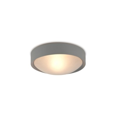 Rondo IP44 1 Light E27 Flush Ceiling Light, Satin Nickel Frame With Frosted Glass
