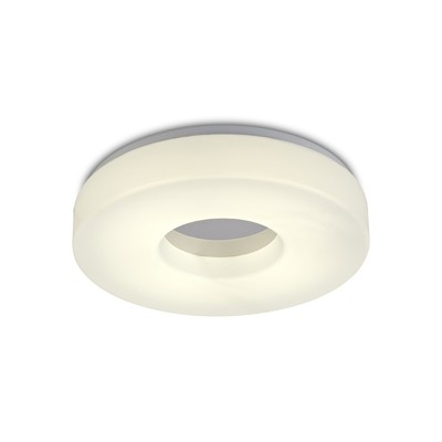 Joop IP44 24W LED Large Flush Ceiling Light, 4000K 2000lm CRI80, Polished Chrome With White Acrylic Diffuser
