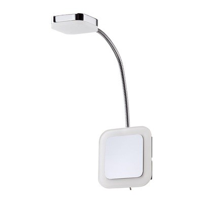 Gio Flexible Spot Light 1 Light Switched 3W LED 3000K, 450lm, Polished Chrome/Frosted Acrylic, 3yrs Warranty