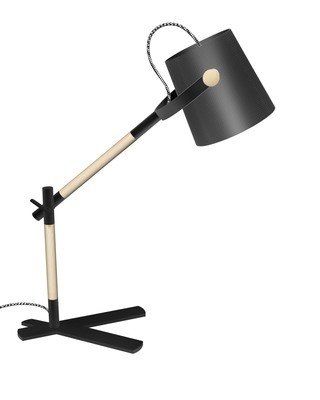 Nordica Table Lamp With Black Shade 1 Light E27, Matt Black/Beech With Black Shade